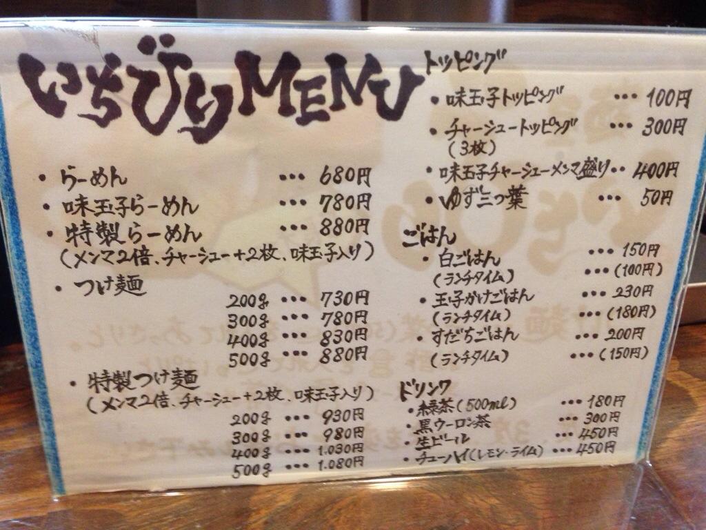麺屋いちびりのメニュー